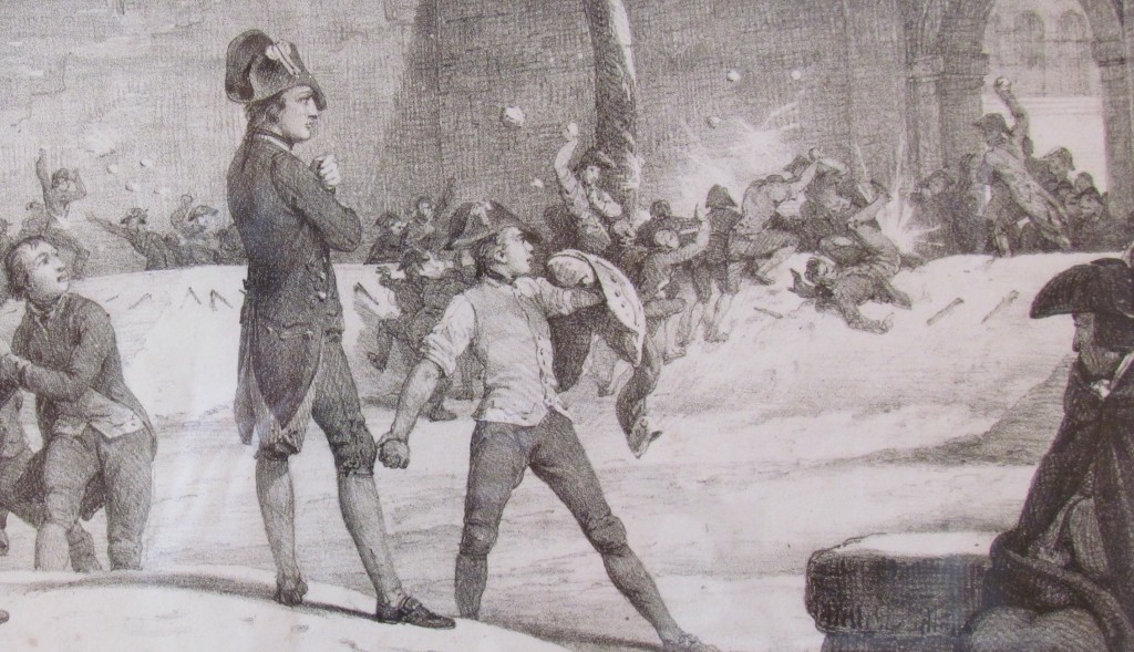 Napoleon commands snowball fight at Brienne by Horace Vernet