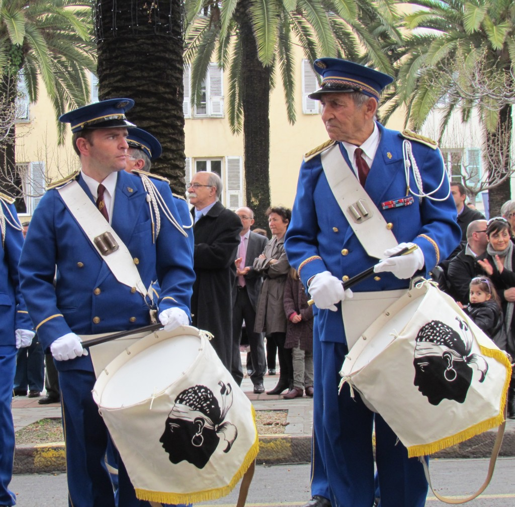 Angry drummers during parade in Ajaccio on August 18,  2011. To celebrate the Virgin Mary, patron saint of Corsica