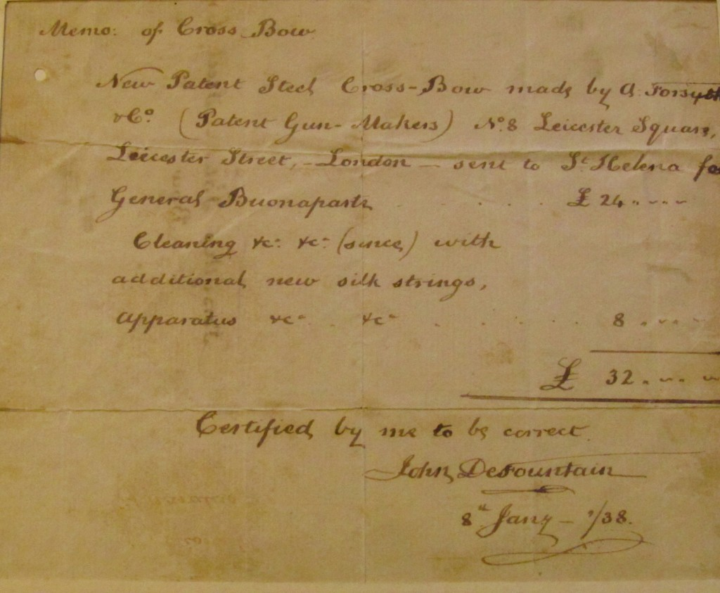 Cross-Bow Invoice, St Helena Archives, copyright Margaret Rodenberg