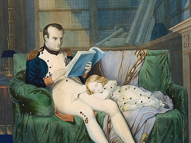 Napoleon reading with son sleeping by Karl Steuben; a tinsel print from Cooper Hewitt Smithsonian Institute collection