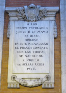 Commemorative plaque in Puerta del Sol plaza in Madrid