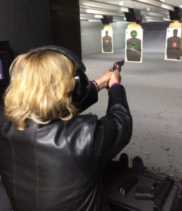 Margaret Rodenberg at the shooting range
