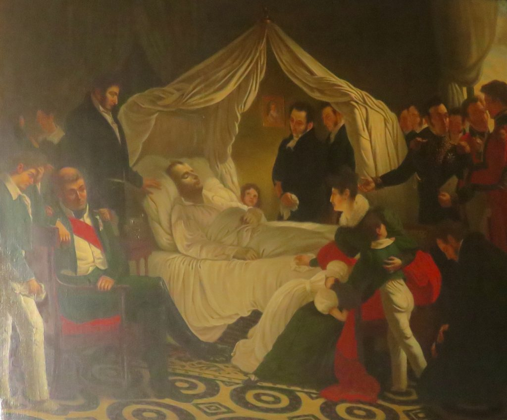 Von Stuben's painting of Napoleon's death scene in the reception room of Longwood House, St Helena. Photo taken in Museo Napoleonic, Havana, by Margaret Rodenberg 2017